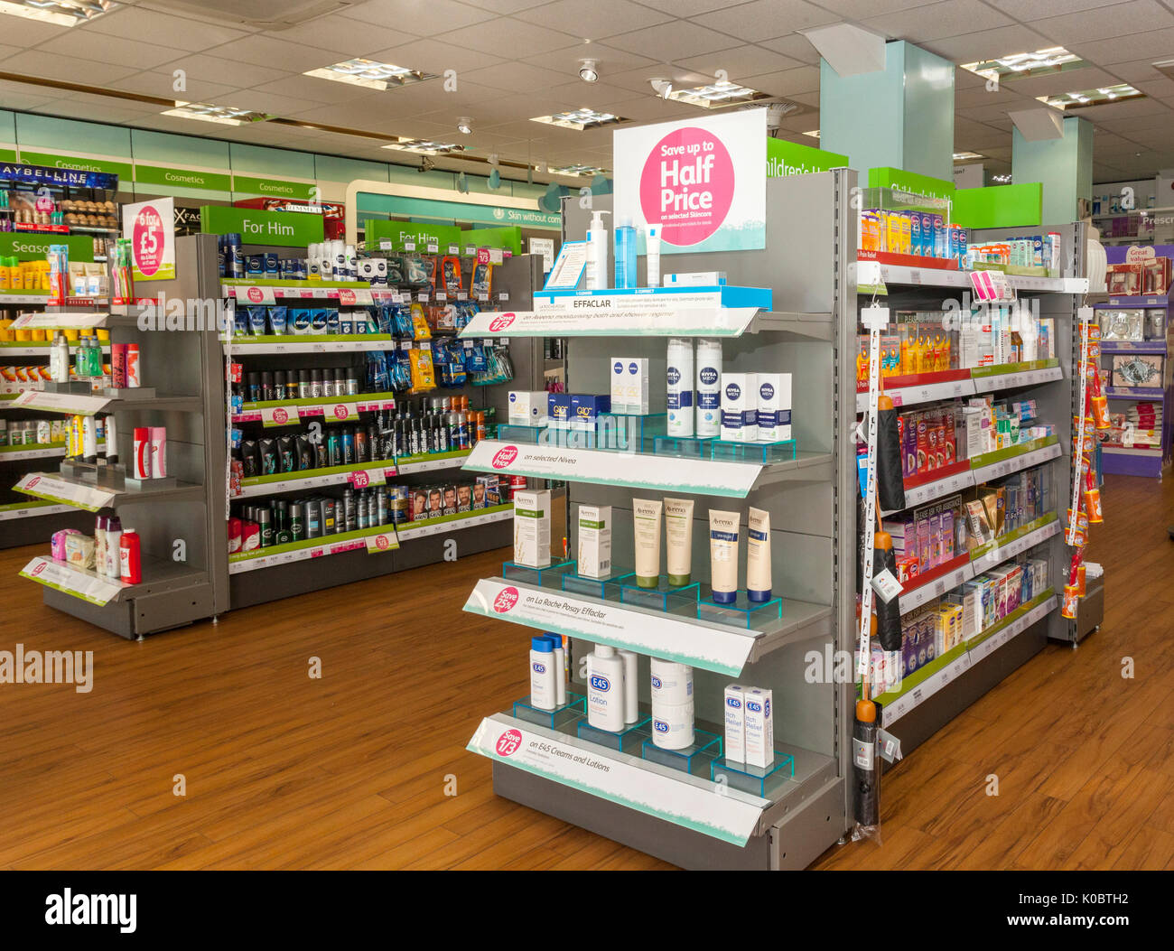 Interior and displays in a chemist shop,pharmacy shelf,pharmacists,drug store Stock Photo