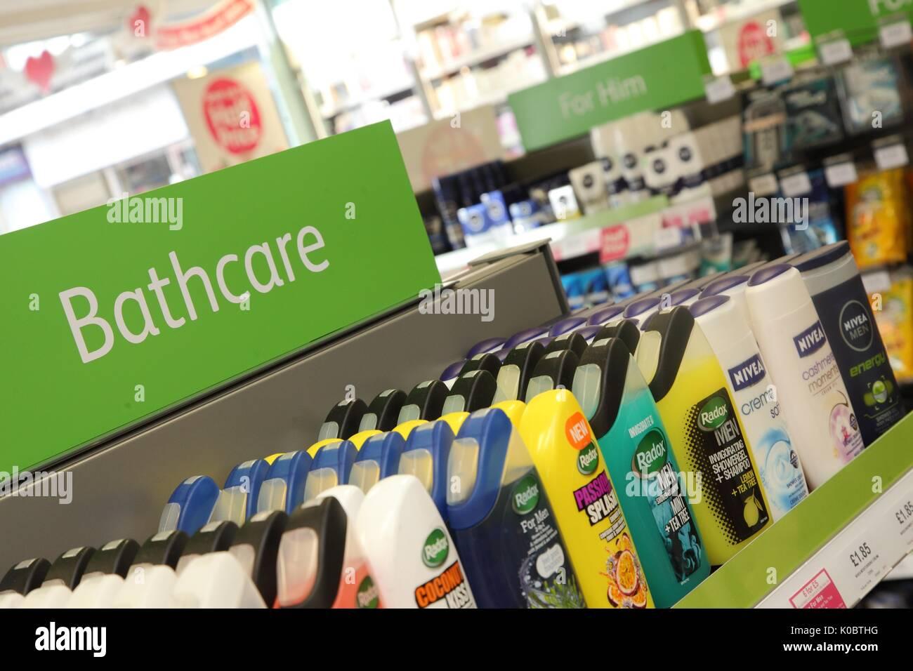 Bathcare products in a chemist shop,pharmacy shelf,pharmacists,drug store Stock Photo