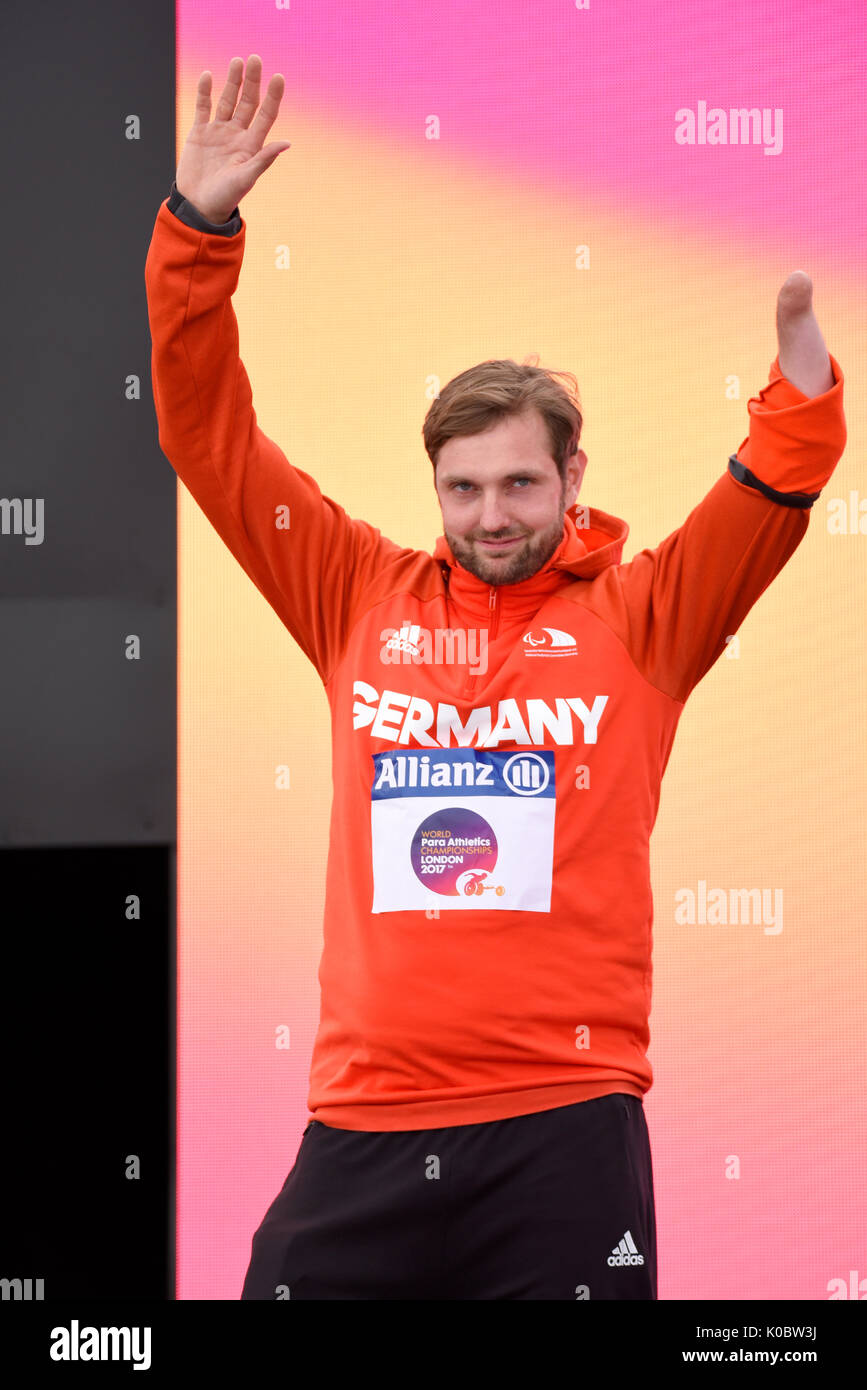 Mathias Uwe Schulze silver medalist at the medal ceremony for the F46 shot put at the World Para Athletics Championships, London - Stock Image
