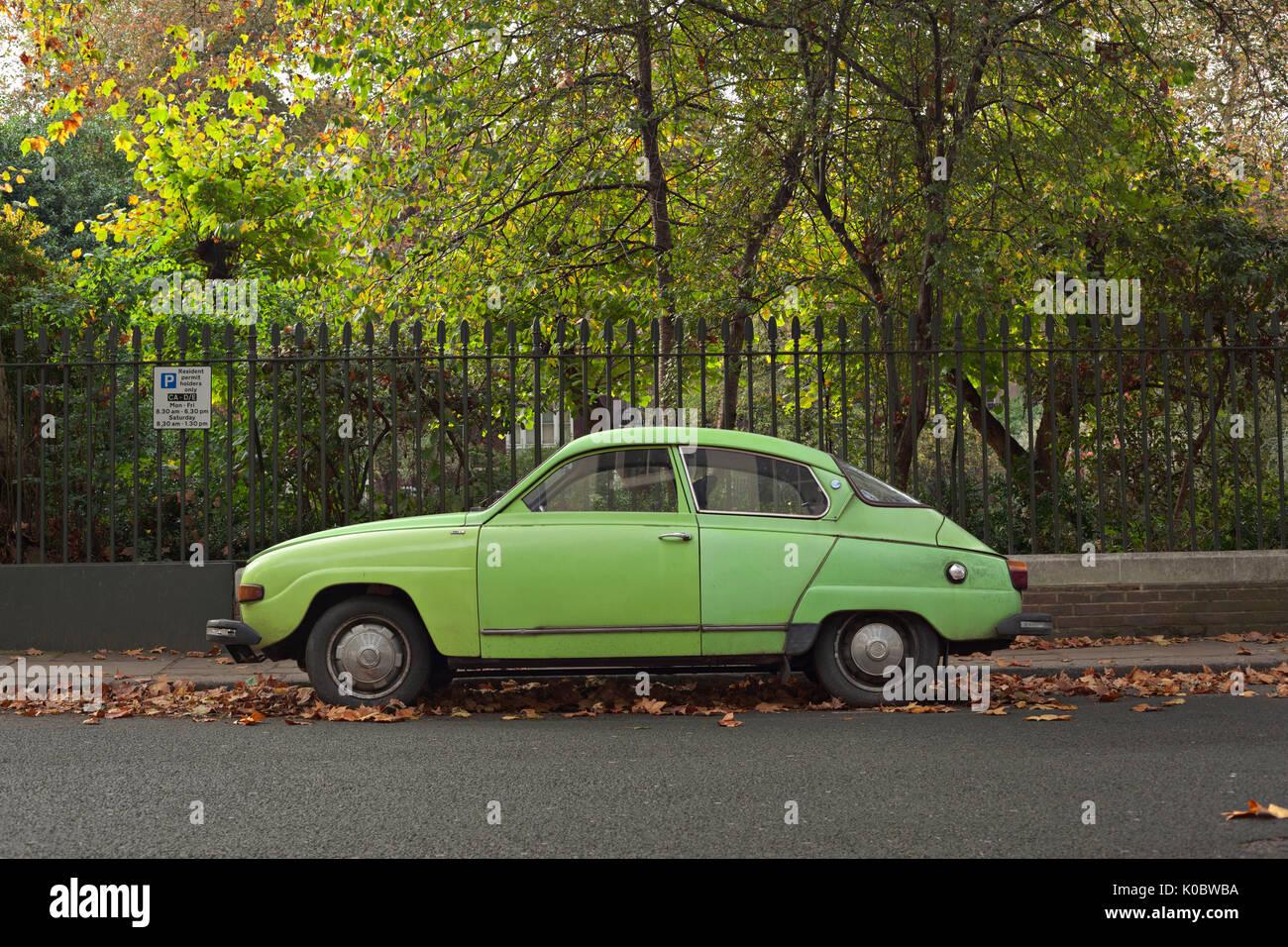 Green coloured Saab 96l at Gordon Square Gardens, London - Stock Image