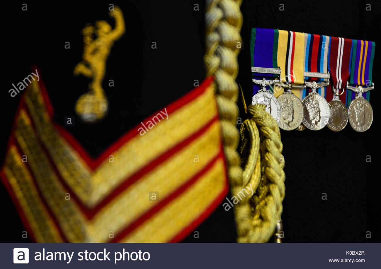 British Army Medals on Royal Corps of Signals Number One Service Dress. Medals L-R Northern Ireland GSM, Iraq, Afghanistan, Diamond Jubilee, ACSM - Stock Image