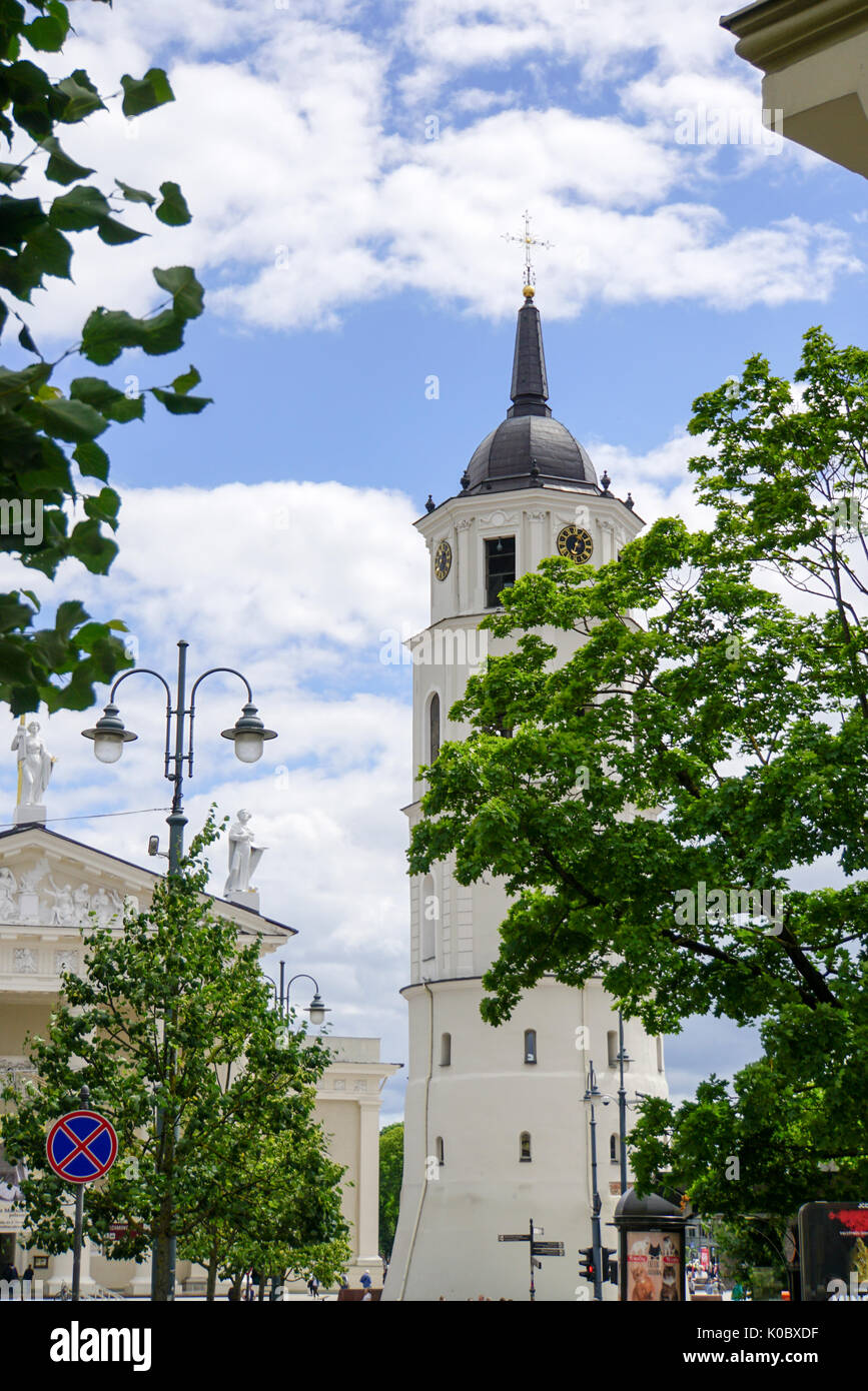 Cathedral square with the belfry, Vilnius, Lithuania Stock Photo