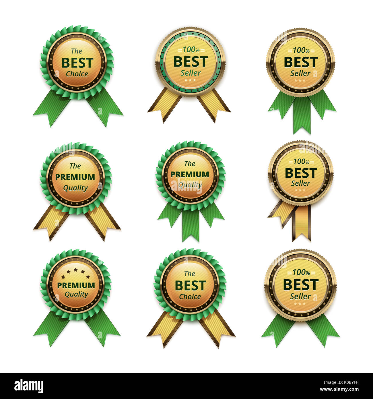 vector set of top quality guarantee golden labels with green ribbons close up isolated on white