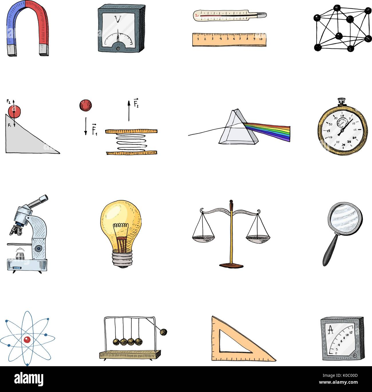 lightbulb and prism, crystal lattice and scale with