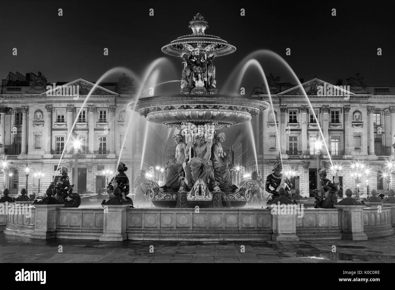 Fontaine des Fleuves, Fountain of Rivers in Place de la Concorde, Paris France - Stock Image