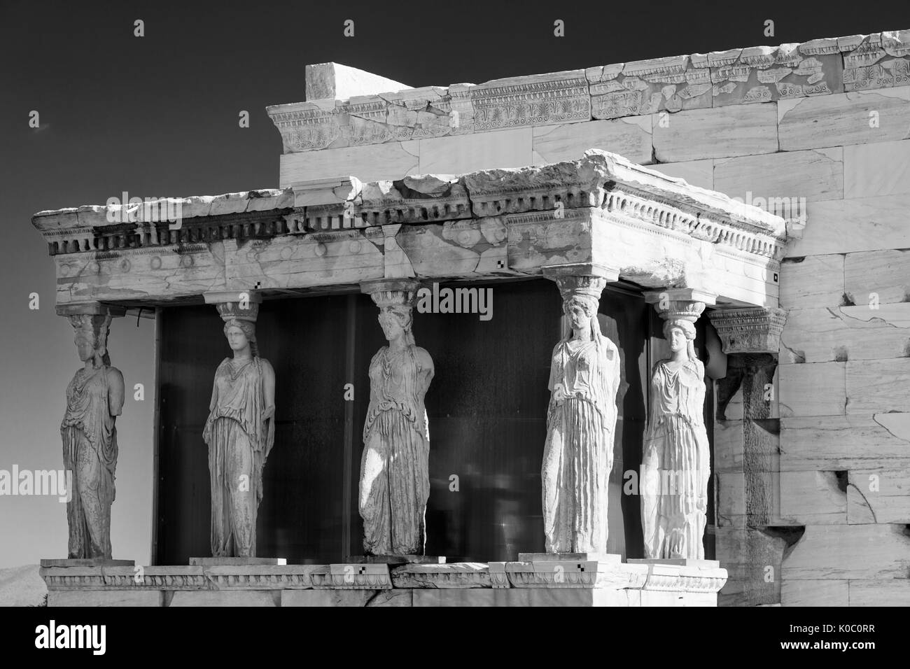 Figures of Athena line the Caryatid Porch of the Erechtleion on the Acropolis, Athens Attica Greece - Stock Image