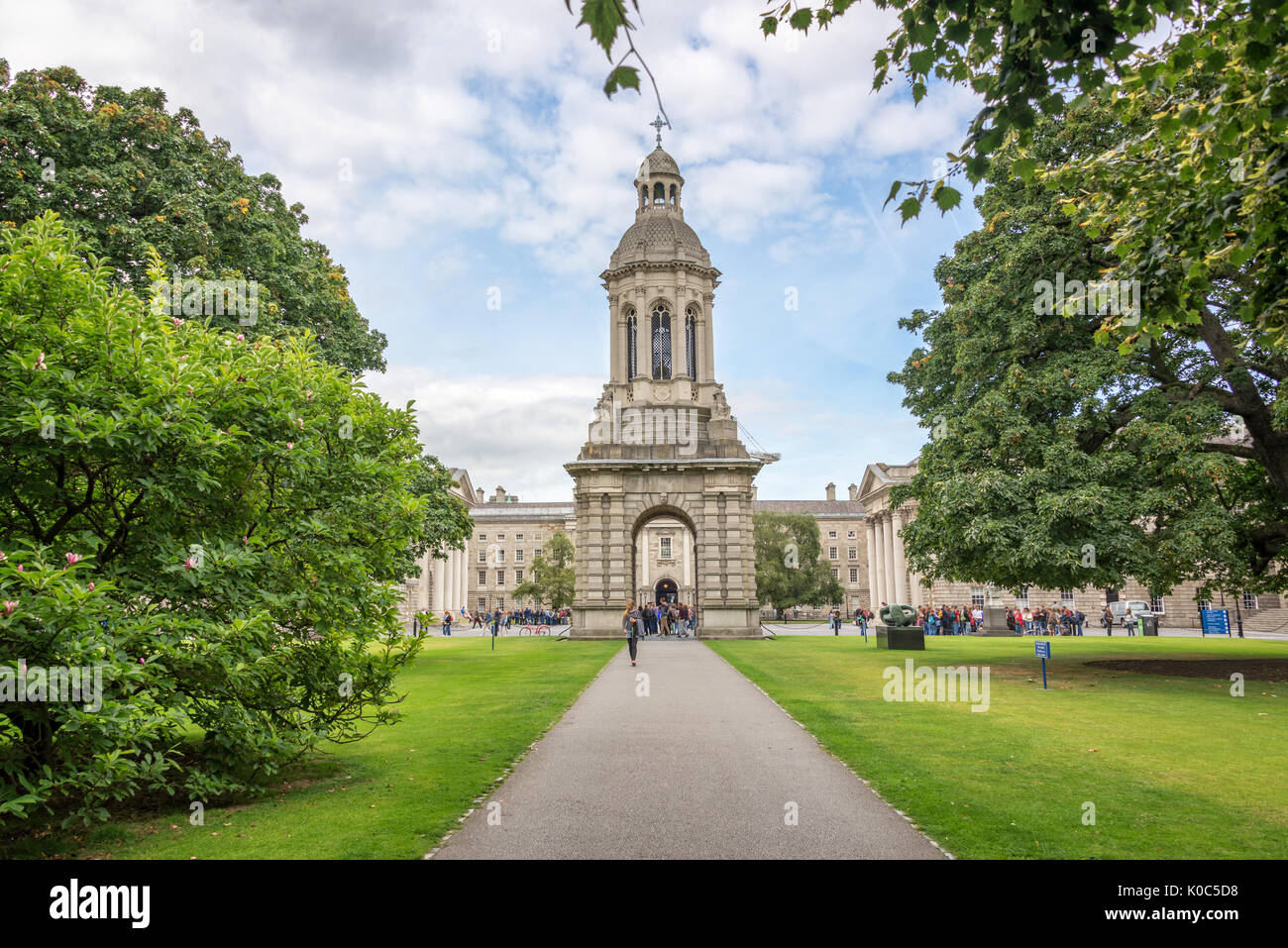 Old bell tower at Trinity College in Dublin, Ireland - Stock Image