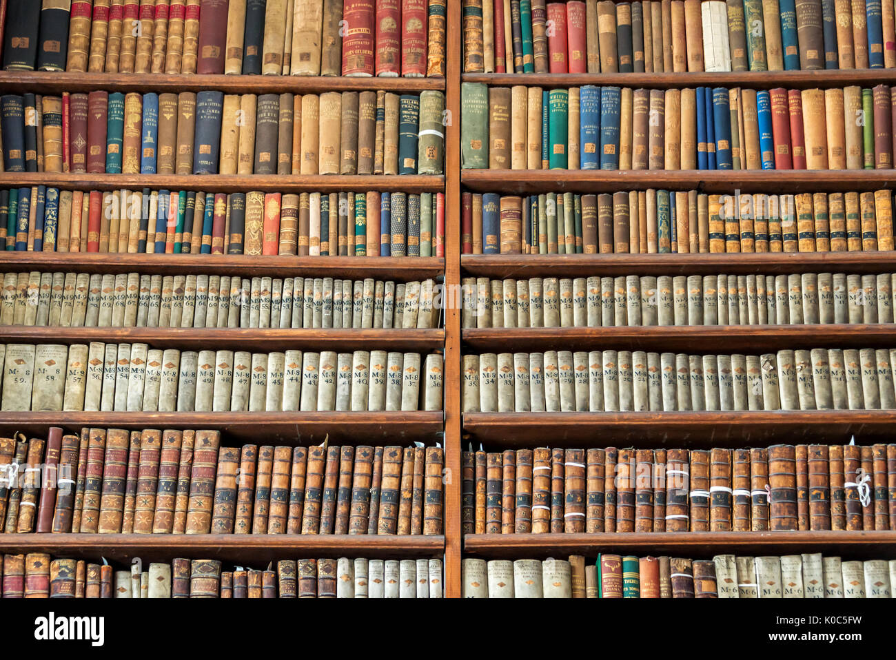 Background Of Old Vintage Books On Wooden Bookshelf In A
