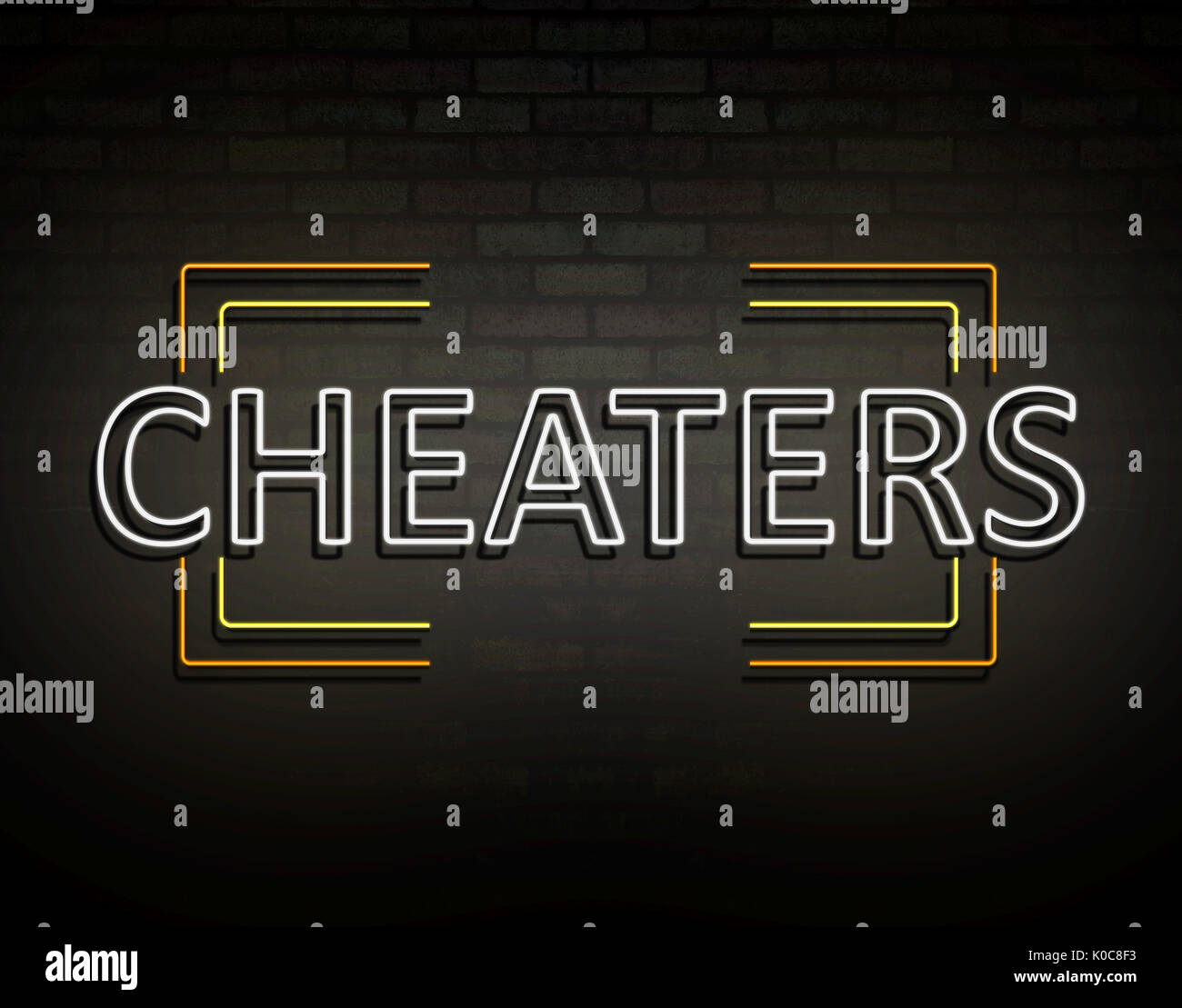3d Illustration depicting an illuminated neon sign with a cheaters concept. - Stock Image