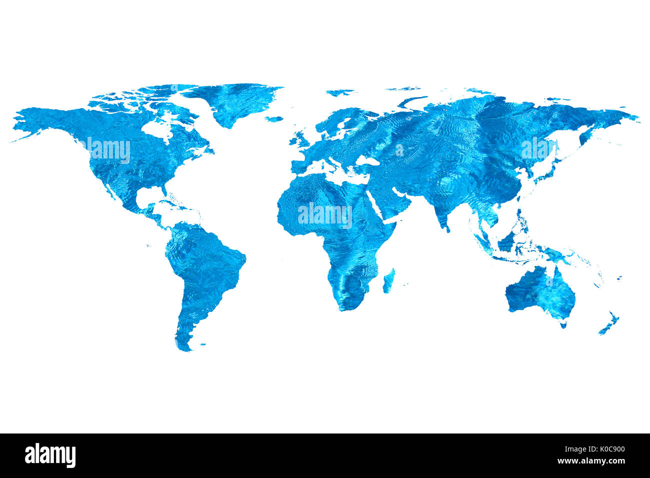 isolated flat world map and water. NASA flat world map image used to furnish this image. - Stock Image