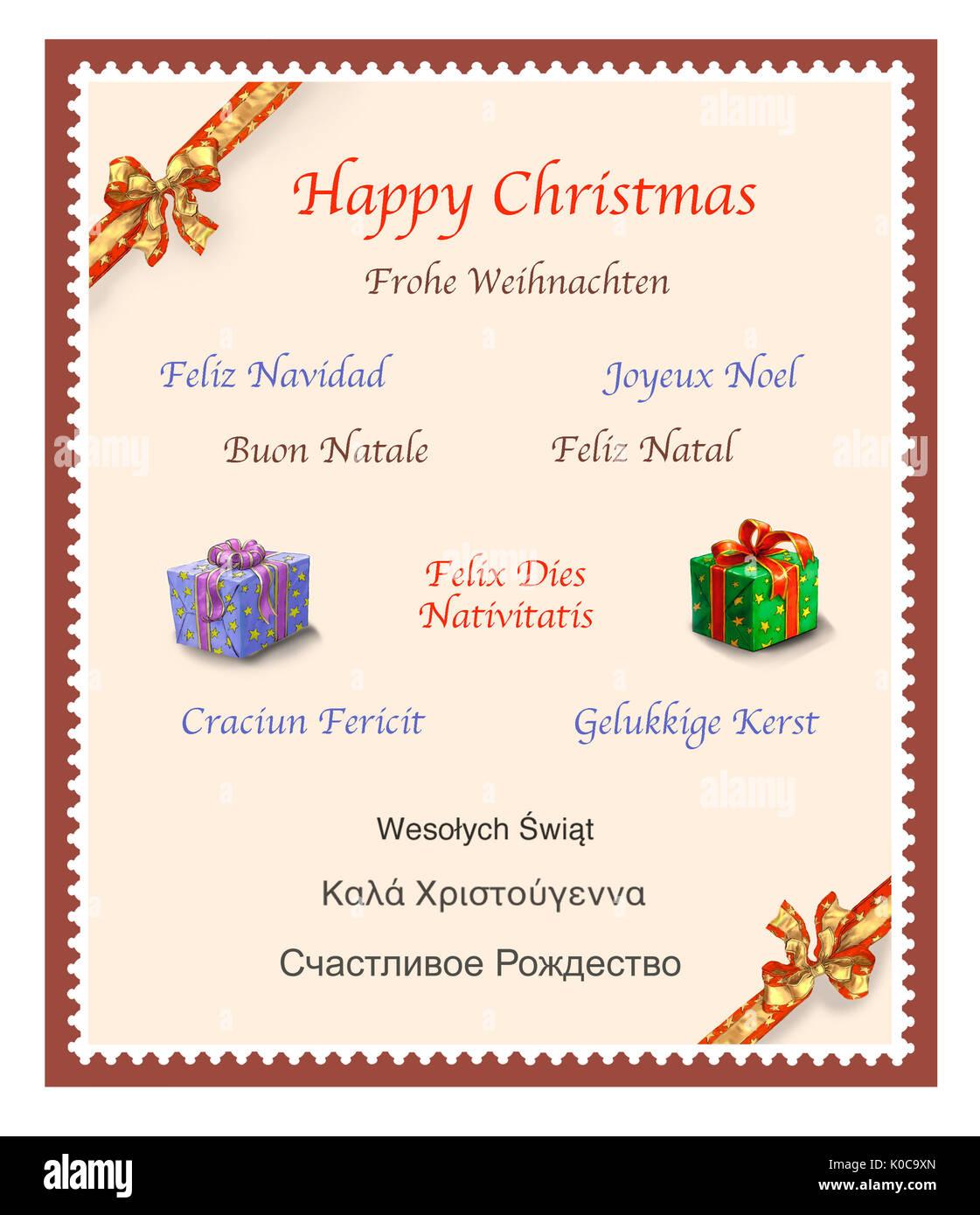 Christmas Card Design, Multilingual, Multi Languages - Stock Image