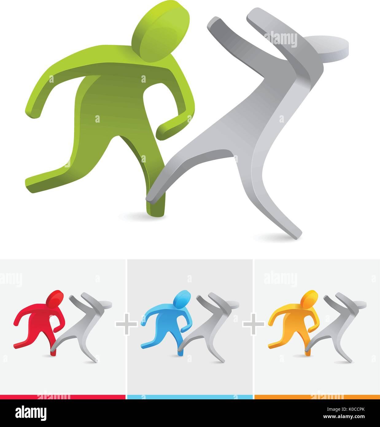 2 3D vector stick figure fighting - Stock Vector