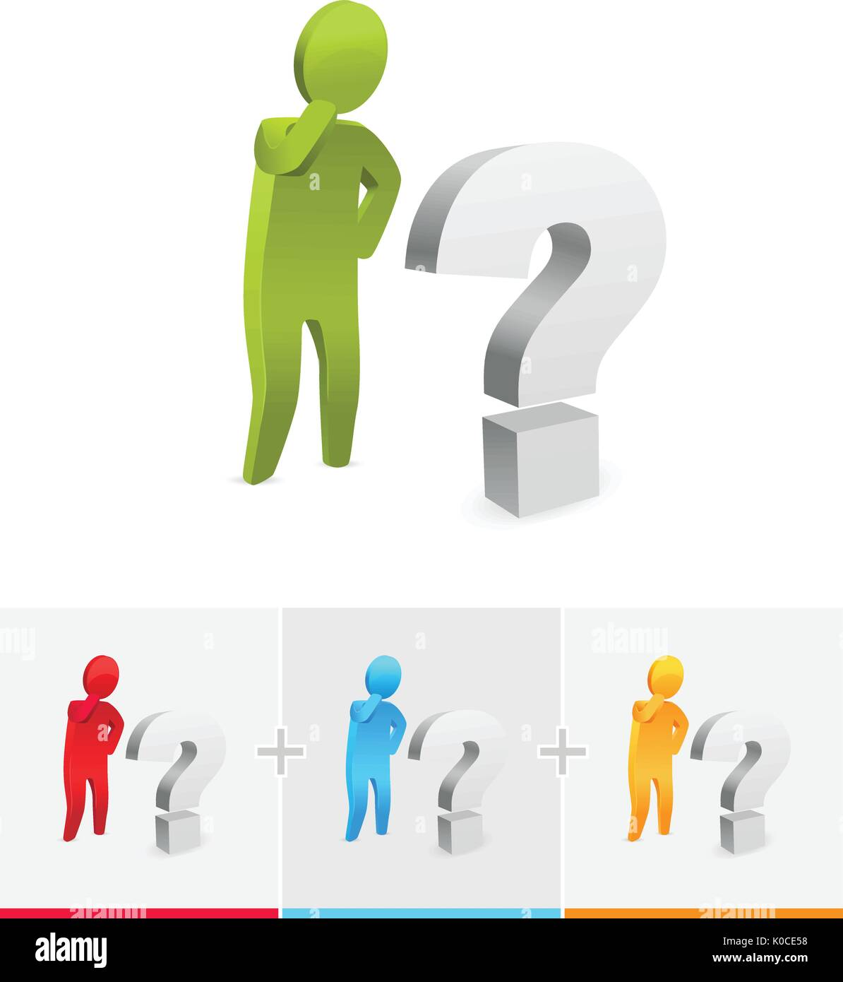 3D vector stick figure  thinking and standing next to question mark - Stock Vector