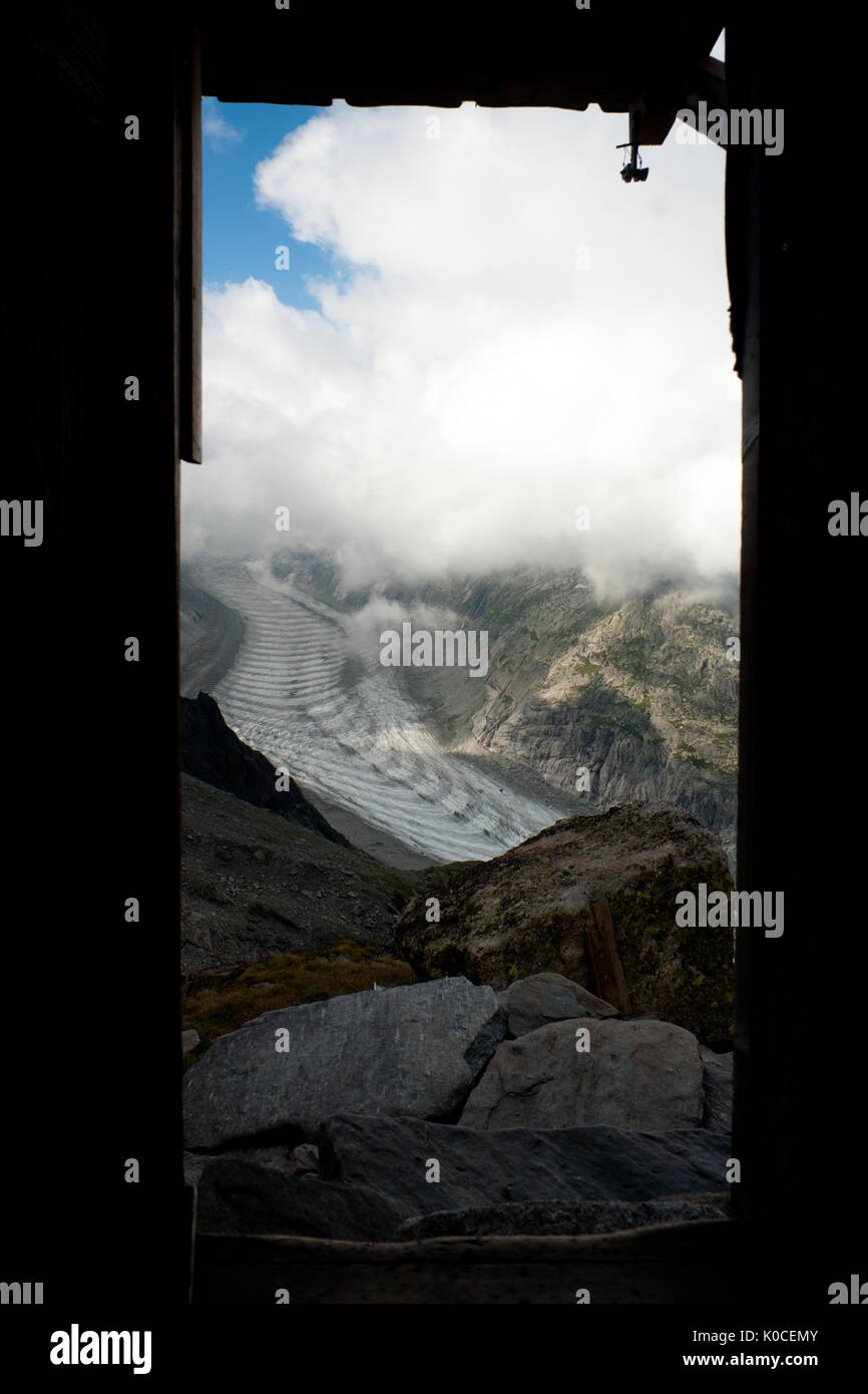 Look out the door of Charpoua hut on Mer de Glace glacier. Massif du Mont Blanc, Haute-Savoie, France, western Europe. - Stock Image