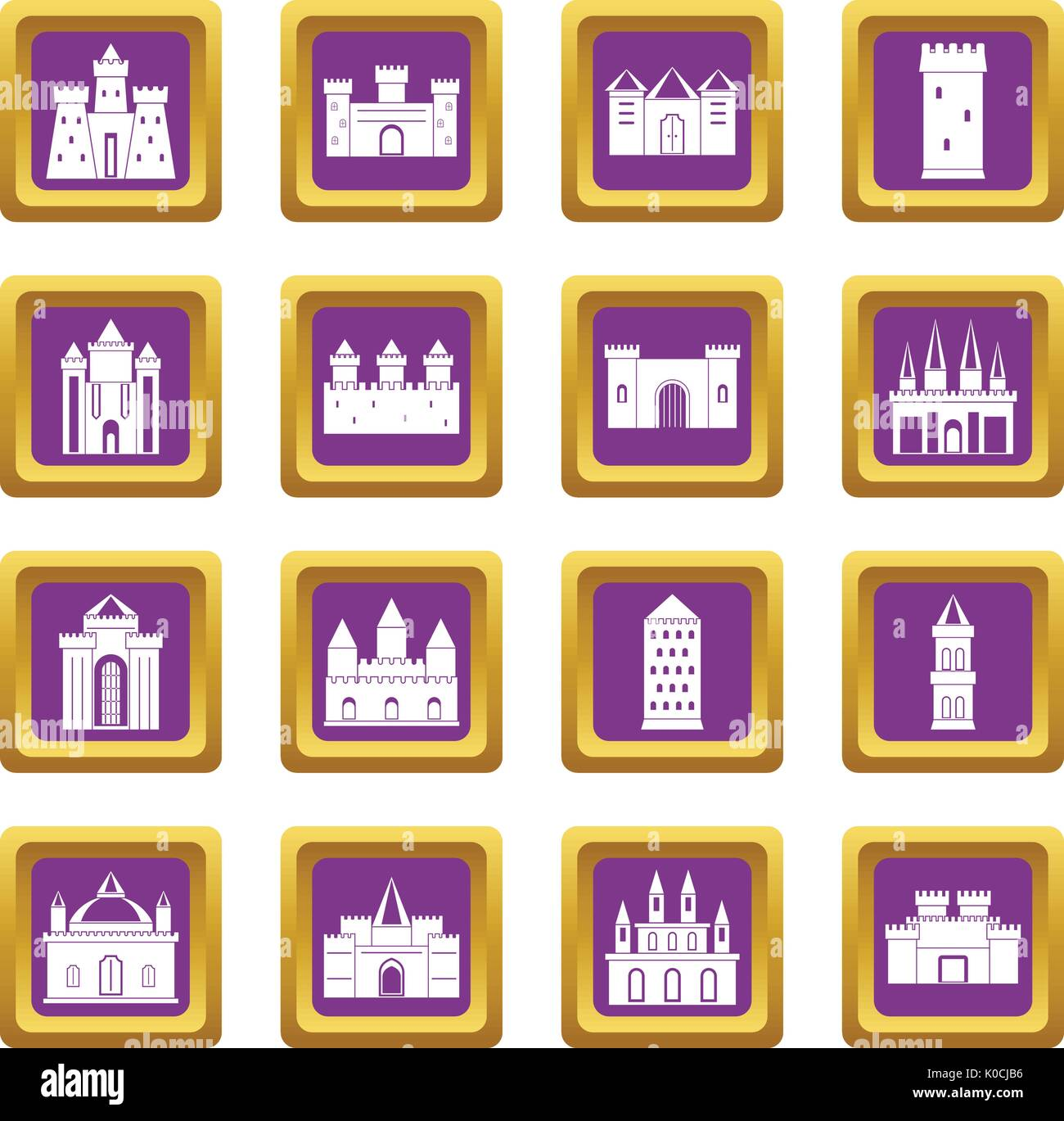 Towers and castles icons set purple - Stock Vector