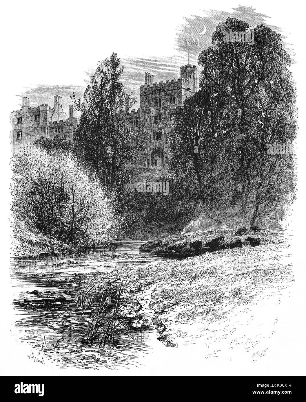 1870: A night viw over the River Wye of Haddon Hall, an English country house near Bakewell is one of the seats Stock Photo