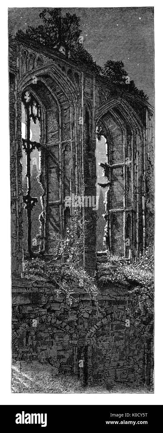 1870: The moonlit windows of ruined Kenilworth Castle, founded in the 1120s around a powerful Norman great tower. It is  located in the town of the same name in Warwickshire, England. Constructed from Norman through to Tudor times, the castle has been described as 'the finest surviving example of a semi-royal palace of the later middle ages, significant for its scale, form and quality of workmanship'. - Stock Image