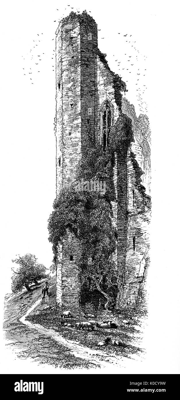 1870: The West Tower of ruined Kenilworth Castle located in the town of the same name in Warwickshire, England. Constructed from Norman through to Tudor times, the castle has been described as 'the finest surviving example of a semi-royal palace of the later middle ages, significant for its scale, form and quality of workmanship'. - Stock Image