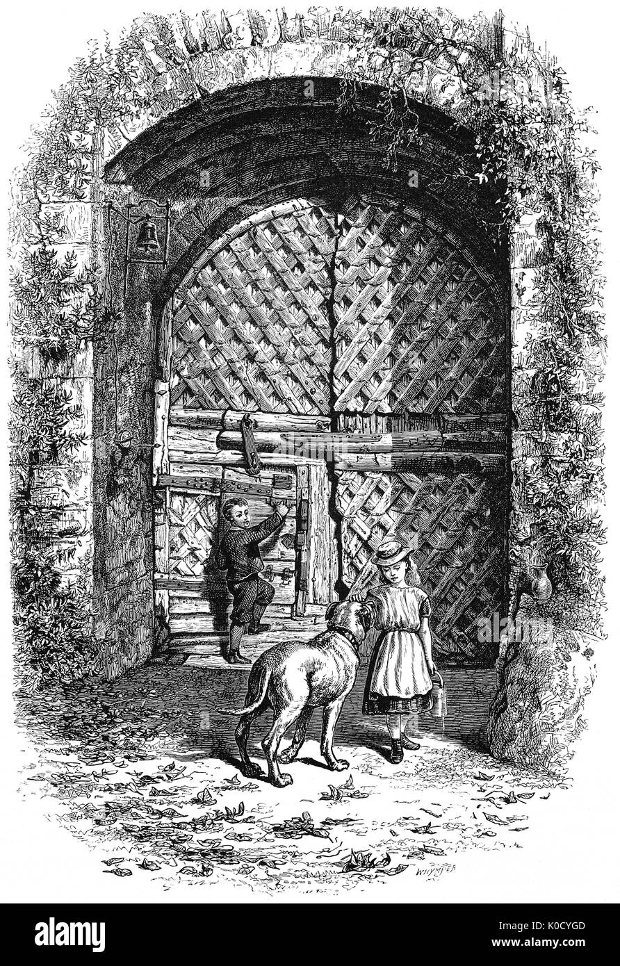 1870: Children and a dog in front of the gate of Chepstow Castle in Monmouthshire, Wales. It is the oldest surviving post-Roman stone fortification in Britain. Located above cliffs on the River Wye, construction began in 1067. By the 16th century its military importance had waned and parts of its structure were converted into domestic ranges. Although re-garrisoned during and after the English Civil War, by the 1700s it fell into decay. - Stock Image