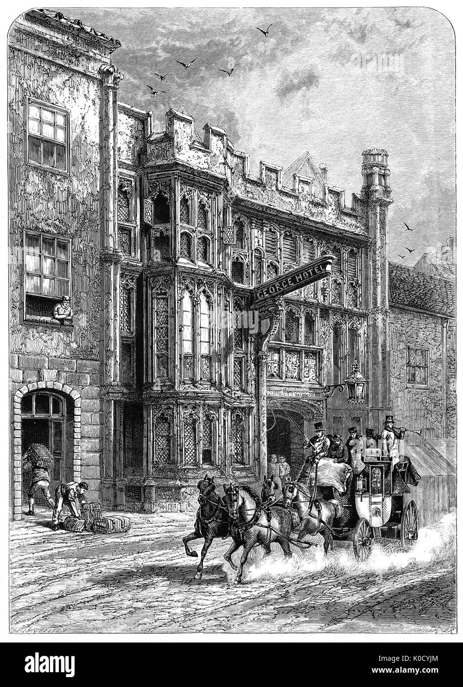 1870: Stagecoach passing the George Hotel and Pilgrims' Inn, in Glastonbury, Somerset, England. Built in the late 15th century (1439) to accommodate visitors to Glastonbury Abbey it's  the oldest purpose built public house in the South West of England. - Stock Image