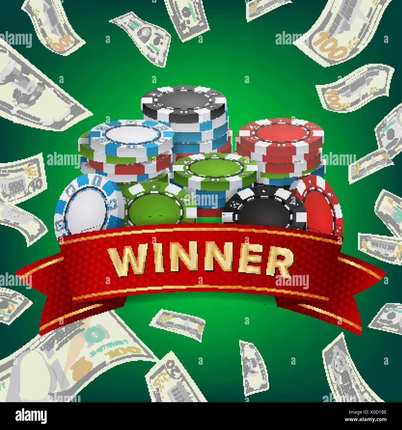 Winner Background Vector Gambling Poker Chips Lucky Jackpot Stock Vector Image Art Alamy