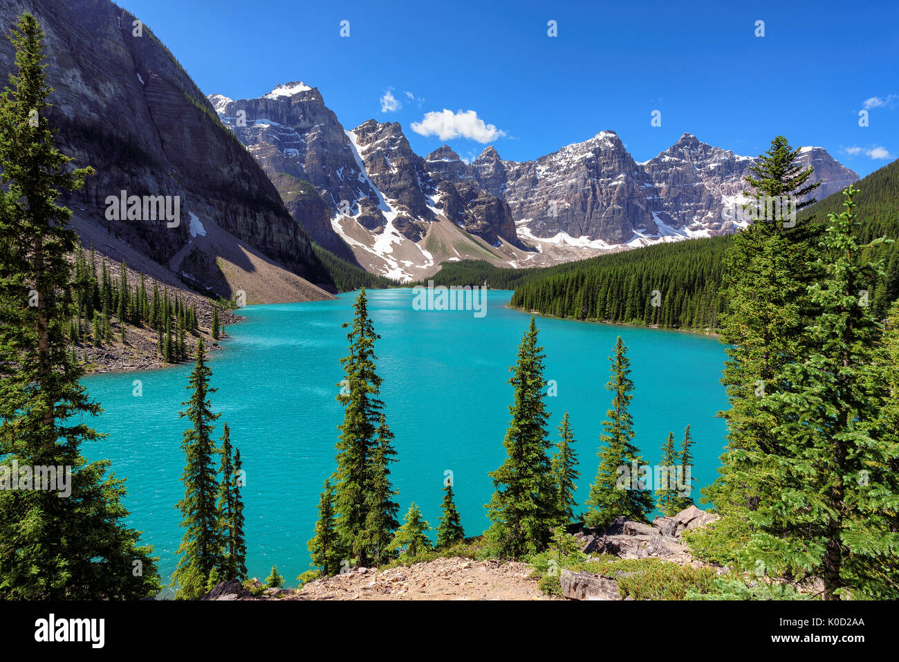 Moraine Lake - Famous place in Canadian Rockies. - Stock Image