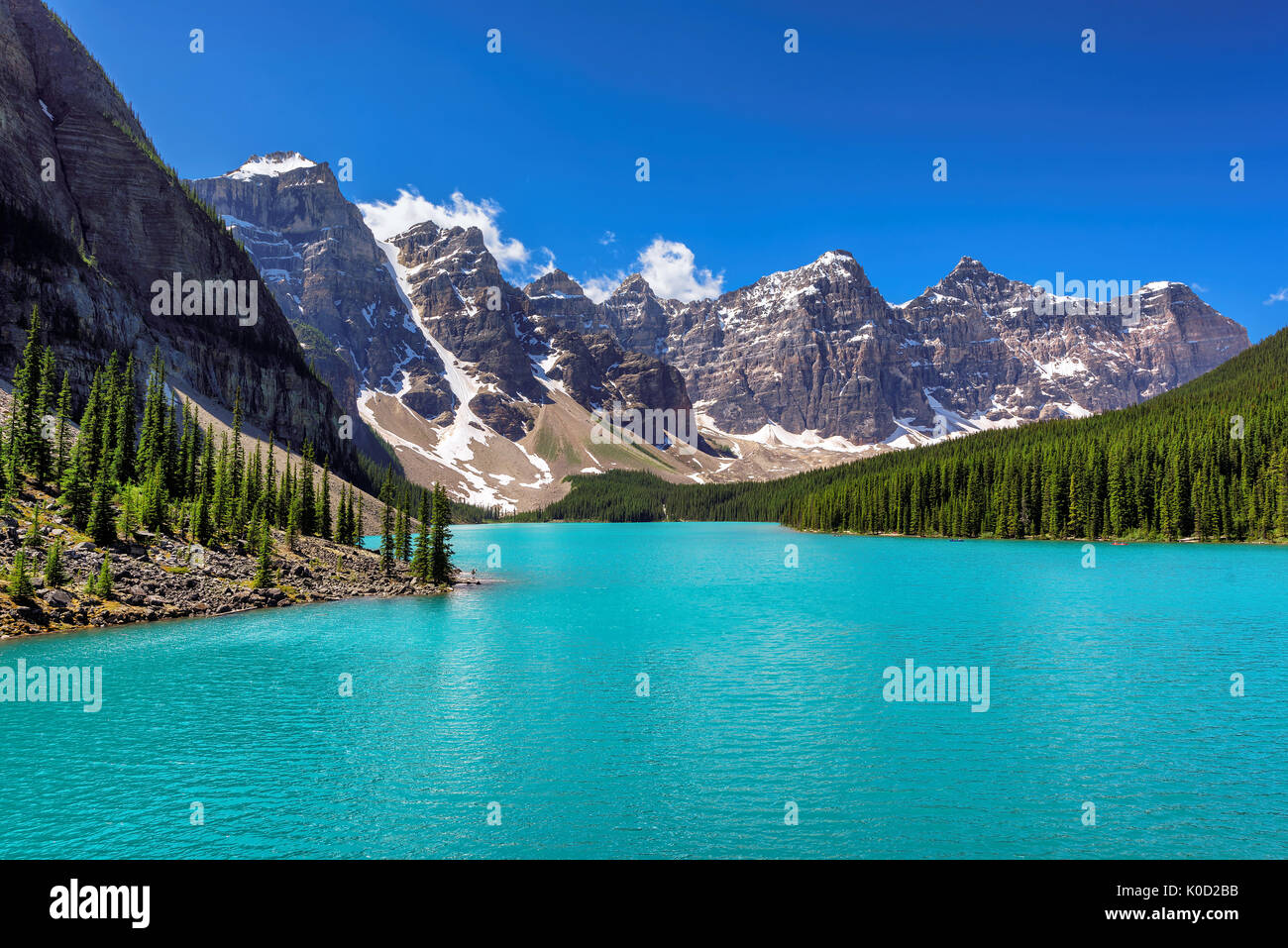 Moraine Lake - Famous place in Rocky Mountains, Canada. - Stock Image