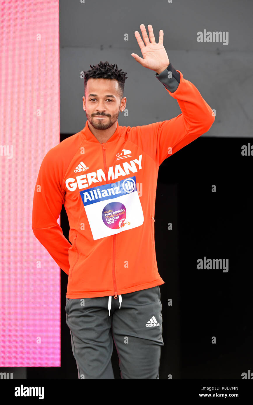 Leon Schaefer bronze medal winner at the medal ceremony for the T42 long jump at the World Para Athletics Championships, Stock Photo