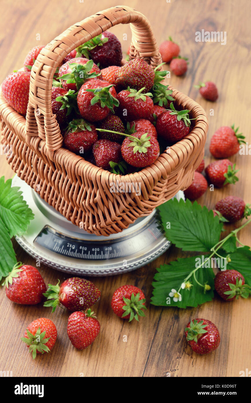 Basket of Strawberries on weight scale at wooden table background. - Stock Image