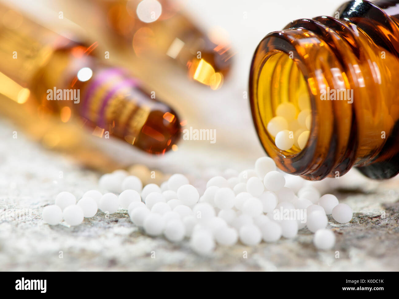 alternative medicine with herbal and homeopathic pills - Stock Image