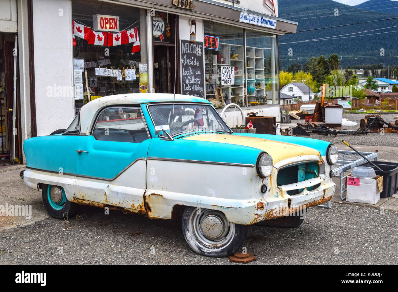 CLINTON, BC, CANADA - MAY 23, 2017: North Road Trading Post in Clinton, British Columbia. The store offers antiques and collectibles. - Stock Image