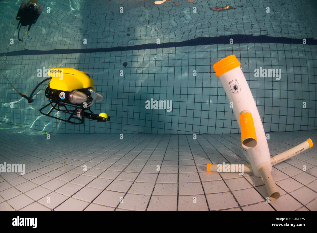 Video Ray ROV training underwater at swimming pool. Stock Photo