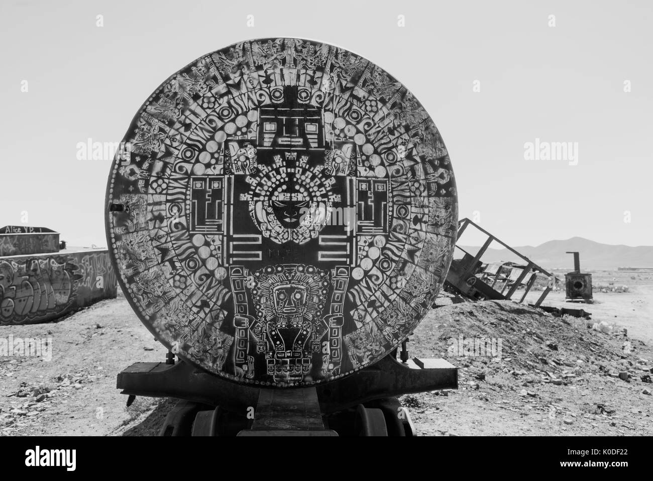 South America, Andes, Altiplano, Bolivia,  Uyuni, Train Cemetery - Stock Image