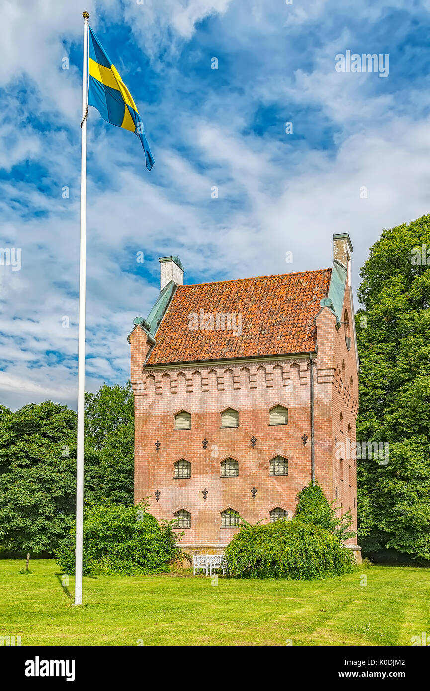 An image of the medieval building of Borjes tower next to Borgeby castle in the Skane region of Sweden. - Stock Image