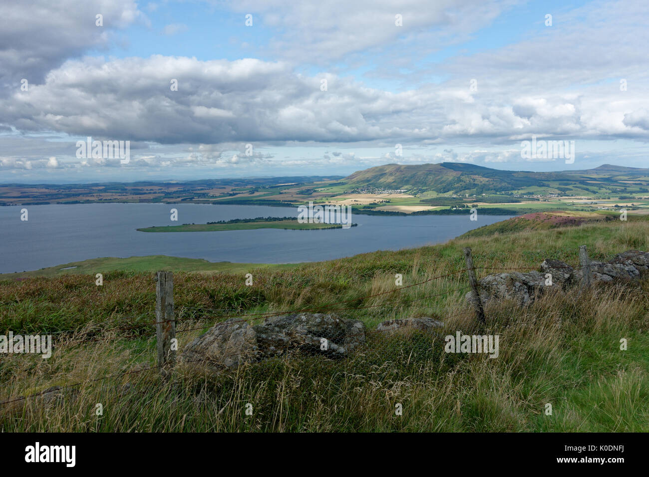 A view of Loch Leven from Benarty Hill, near Ballingry, Fife, Scotland. - Stock Image