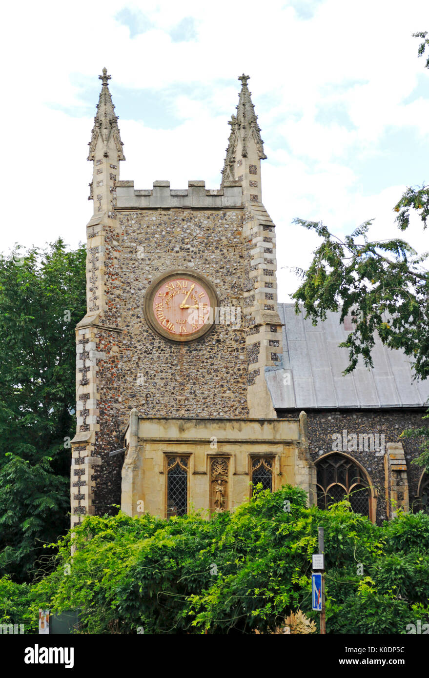 A view of the redundant parish church of St Michael-at-Plea in Redwell Street, Norwich, Norfolk, England, United Kingdom. - Stock Image