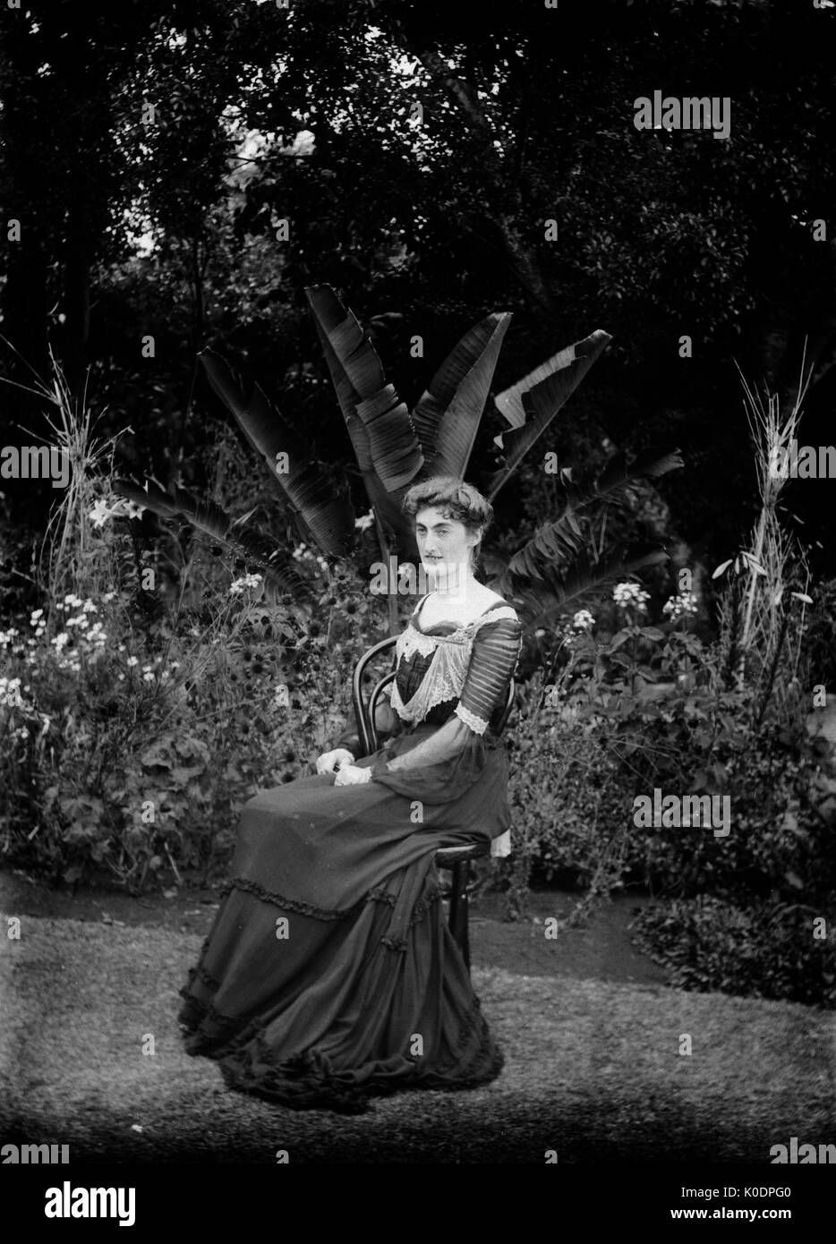 AJAXNETPHOTO. 1900-1910. LOCATION UNKNOWN. - PORTRAIT OF A YOUNG LADY IN EDWARDIAN DRESS - SEATED IN TROPICAL GARDEN Stock Photo