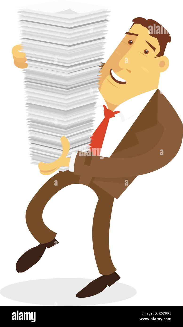 Businessman character carrying stack of paper - Stock Image
