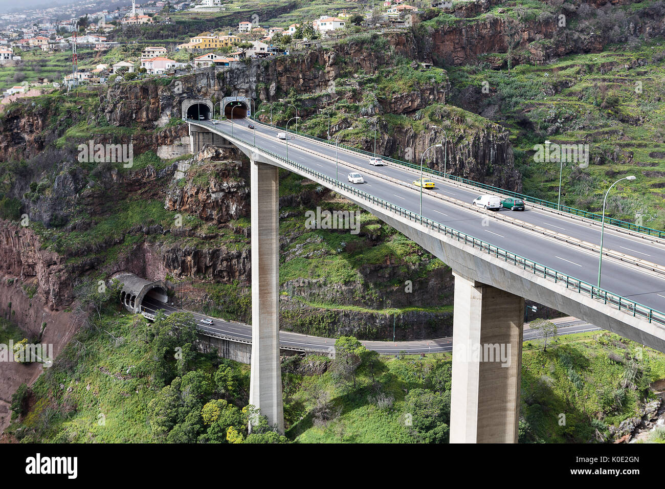 Highway Through Funchal, Madeira, Portugal. - Stock Image