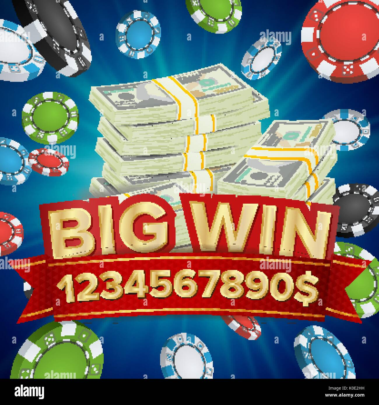 Big Win Banner Background For Online Casino Gambling Club Poker Stock Vector Image Art Alamy