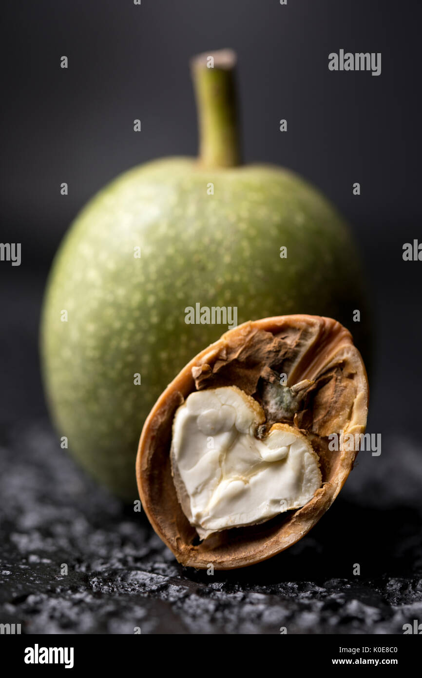 A fresh green walnut in the peel is fresh from the tree. Walnut on a black background. Macro. Fresh Harvest. - Stock Image