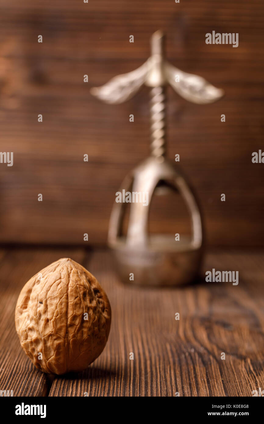 A walnut in a shell on a wooden background together with an old nutcracker. Walnut and beautiful vintage nutcracker. Monochrome photo. - Stock Image