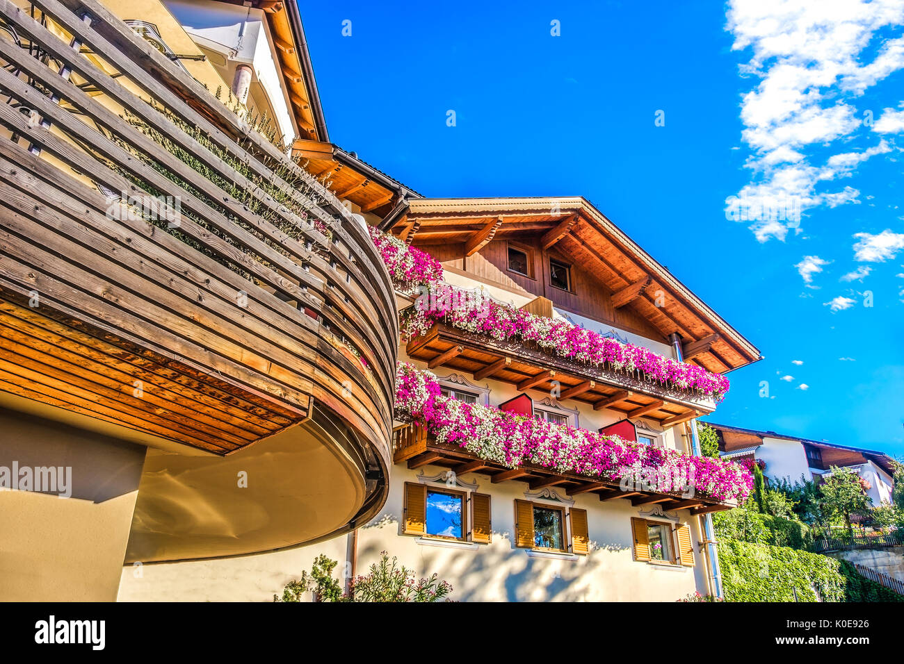 modern mountain chalet purple flowers colorful design south tyrol accomodation - Stock Image