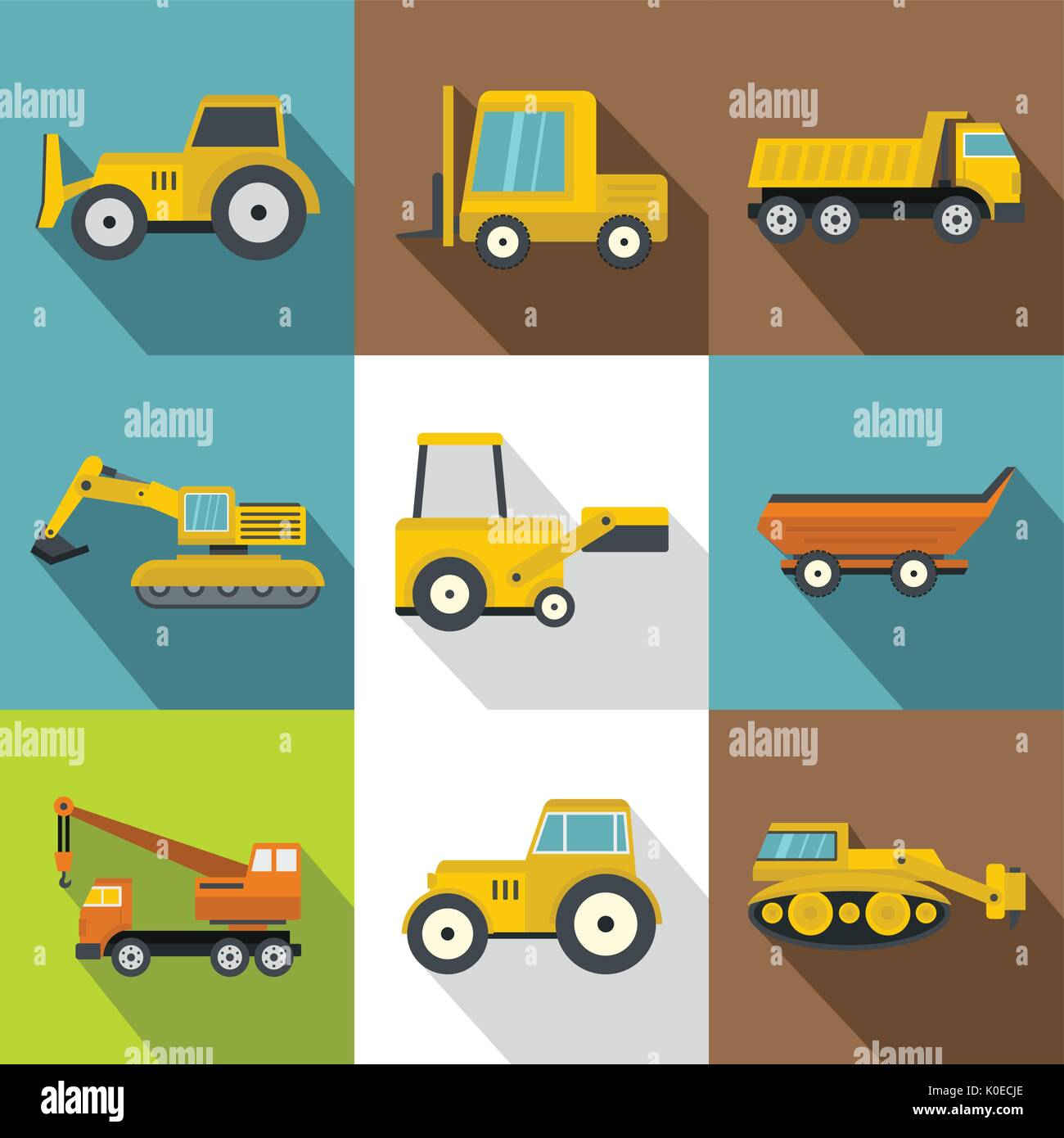Construction Machinery Icons Set Flat Style Stock Vector Art