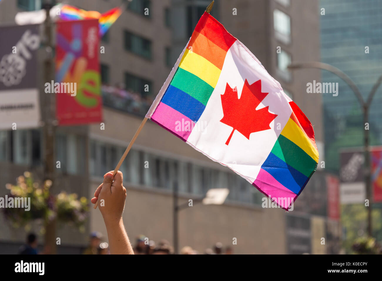 Montreal, CANADA - 20 August 2017: Canadian Gay rainbow flag at Montreal gay pride parade - Stock Image