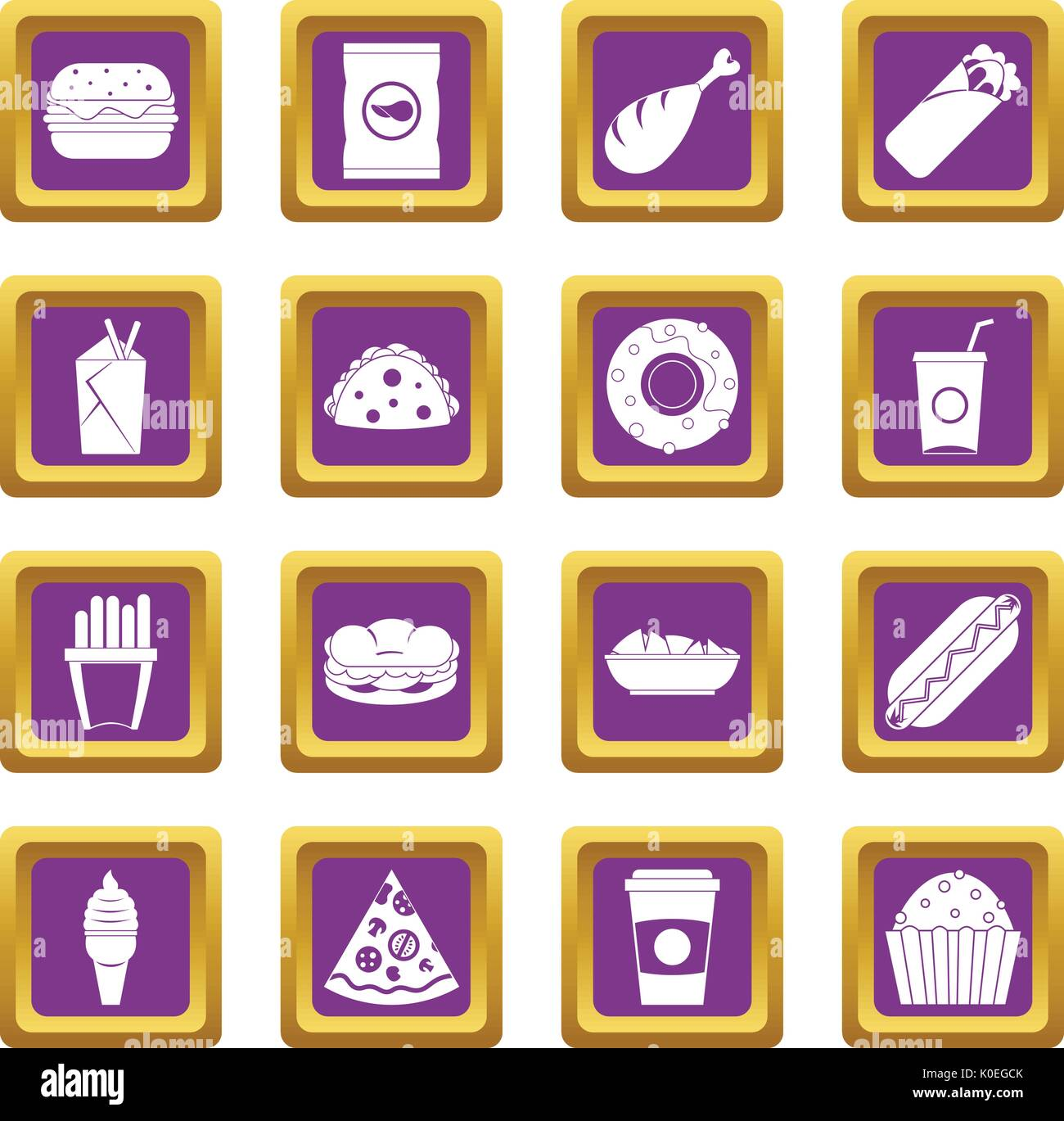 Fast food icons set purple - Stock Vector