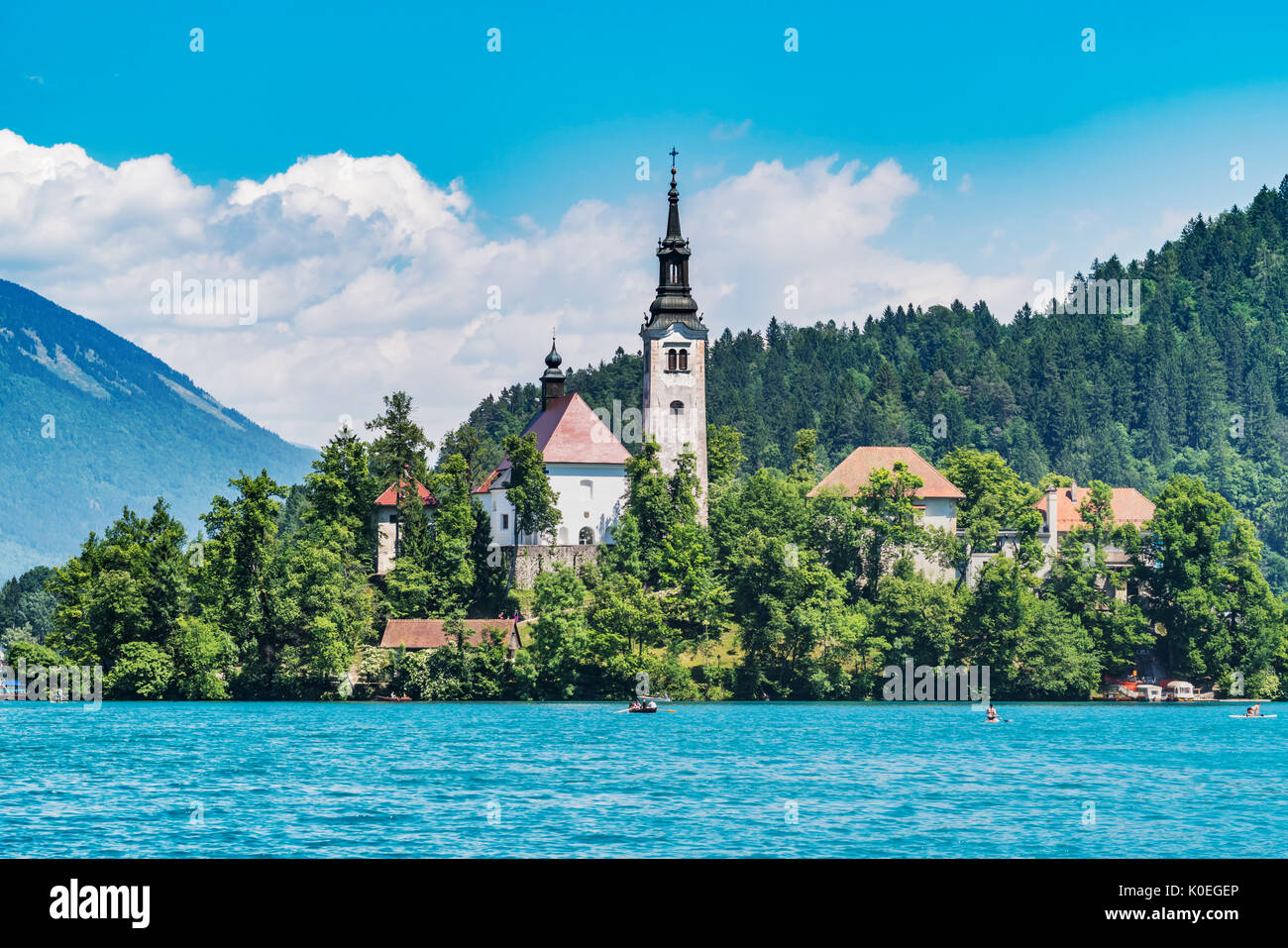 St. Mary's Church is located on a small island in Lake Bled. The Church was built in 1465, Bled, Gorenjska (upper Carniola), Slovenia, Europe. - Stock Image