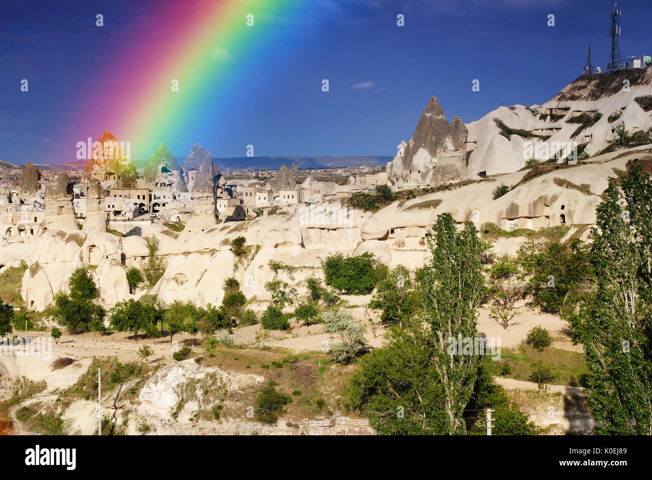View of the Uchisar valley and the city of Goreme. Cave towns. Cappadocia, Turkey. - Stock Image