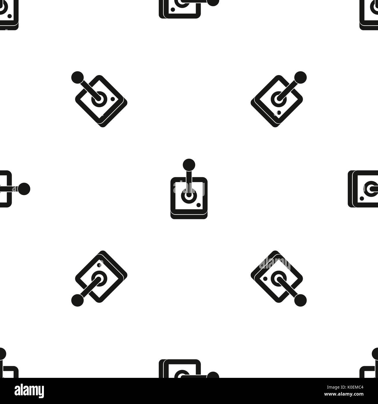 Joystick for computer games pattern seamless black - Stock Image