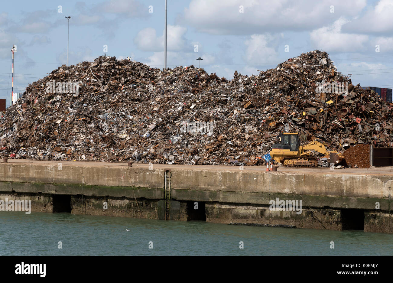 Pile of scrap metal waiting to be exported to China for melting down. Southampton Docks UK August 2017 - Stock Image